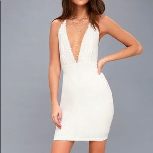 White Lace Bodycon Dress - Deep V